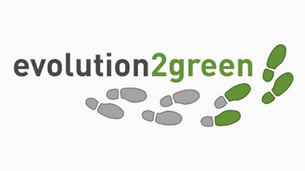 evolution2green logo with grey footsteps turning to green footsteps