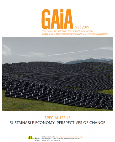 The picture shows the cover page of the GAIA special issue Sustainable Economy: Perspectives of Change