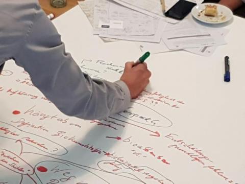 Das Foto zeigt den Ausschnitt einer im Workshop gemeinsam beschriebenen Tischdecke zum Thema Chance und Nutzen von Biokunststoff