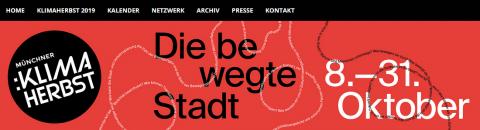 Das Bild zeigt einen Ausschnitt der Website des Münchner Klimaherbstes,in dessen Rahmen die WohnMobil-Veranstaltung stattfindet