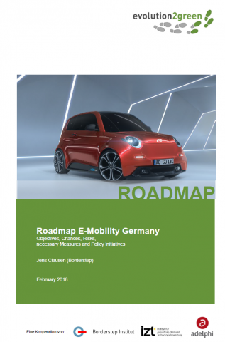 The cover picture shows a red electric vehicle in a show-room setting. Beneath, the title of this publication is shown.