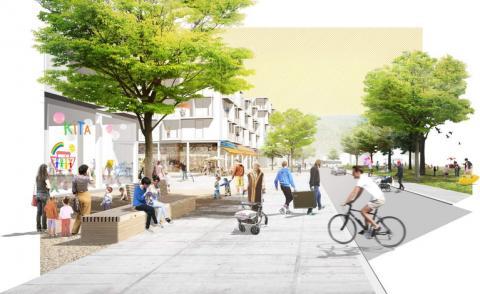 """Parkterrasse: Gestaltungsplan für die Heidelberger Konversionsfläche des """"Mark Twain Village"""" (Quelle: Teleinternetcafe und Trei"""